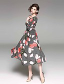 זול שמלות נשים-צווארון V מקסי פרחוני - שמלה נדן בגדי ריקוד נשים