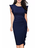 cheap Evening Dresses-Women's Going out Sophisticated Cotton Sheath Dress - Solid Colored Ruffle / Spring