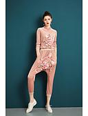 זול טרנינגים וקפוצ'ונים לנשים-צווארון עגול קצר מכנס רקום, אחיד - סט פעמון בגדי ריקוד נשים