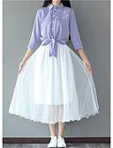 abordables Vestidos de Mujeres-Mujer Noche Algodón Blusa - Un Color Cuello Camisero Falda