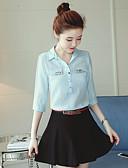 baratos Camisas Femininas-Mulheres Camisa Social - Trabalho Sólido Algodão Colarinho de Camisa