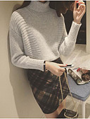 cheap Women's Sweaters-Women's Long Sleeve Cotton Pullover - Solid Colored Turtleneck / Winter