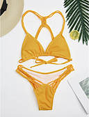 tanie Bikini i odzież kąpielowa 2017-Damskie Jednolity Żółty Rzemień Bikini Stroje kąpielowe - Solidne kolory Styl nowoczesny / Seksowny S M L