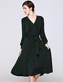 זול שמלות נשים-צווארון V בסיסי, קולור בלוק - שמלה גזרת A נדן סווינג בגדי ריקוד נשים