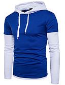 ieftine Tricou Bărbați-Bărbați Pantaloni - Bloc Culoare Gri L / Capișon / Manșon Lung / Toamnă / Iarnă
