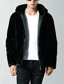 זול חולצות לגברים-אחיד רגיל ארוך ג'קט - בגדי ריקוד גברים, גדול צמר / דמוי פרווה / כותנה / שרוול ארוך