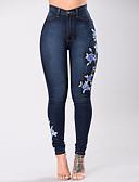 זול מכנסיים לנשים-בגדי ריקוד נשים כותנה ג'ינסים מכנסיים אחיד / סתיו / רקמה / דפוסי פרחים