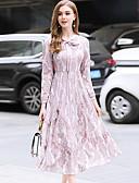 זול שמלות נשים-ברדס מותניים גבוהים תחרה, צבע אחיד - שמלה תחרה בגדי ריקוד נשים