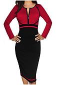 저렴한 여성 드레스-여성용 플러스 사이즈 면 칼집 드레스 - 솔리드 미디