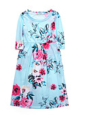 cheap Girls' Tops-Girl's Daily Holiday Solid Floral Dress, Cotton Spring Fall Half Sleeves Cute Casual Boho Black Blushing Pink Navy Blue Light Blue