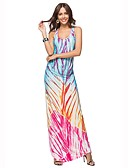 cheap Women's Dresses-Women's Beach Boho Sheath Dress - Print Racerback Maxi U Neck