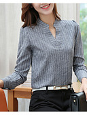 baratos Lingerie Feminina-Mulheres Camisa Social Listrado Decote V