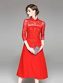 זול שמלות נשים-עומד מידי אחיד - שמלה גזרת A / נדן סגנון סיני בגדי ריקוד נשים