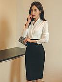 cheap Women's Dresses-Women's Work Cotton Sheath Dress - Color Block High Waist V Neck