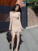baratos Vestidos Femininos-Mulheres Para Noite Algodão Tubinho Vestido Sólido Médio