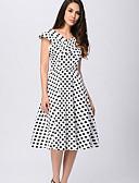 baratos Vestidos de Mulher-Mulheres Básico Bainha Vestido Poá Decote V Médio Branco