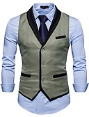cheap Men's Shirts-Men's Daily / Work Spring / Fall Regular Vest, Color Block Shirt Collar Sleeveless Cotton / Acrylic / Polyester Black / Gray