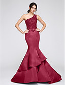cheap Evening Dresses-Mermaid / Trumpet One Shoulder Chapel Train Satin Formal Evening Dress with Appliques by TS Couture®