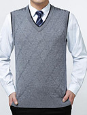 billige Herregensere og -cardigans-Herre Ermeløs Pullover - Ensfarget V-hals