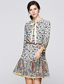 זול שמלות נשים-עומד פפיון קפלים Ruched, פרחוני - שמלה גזרת A נדן סווינג בגדי ריקוד נשים