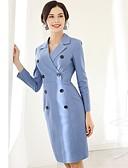 preiswerte Damen zweiteilige Anzüge-Damen Schlank Hülle Kleid Solide Knielang V-Ausschnitt