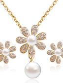 tanie Odzież nocna damska-Damskie Biżuteria Ustaw - Sztuczna perła, Imitacja diamentu Kwiat Klasyczny, Moda Zawierać Kolczyki sztyfty Naszyjniki Złoty Na Codzienny