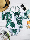cheap One-piece swimsuits-Women's Off Shoulder Tropical Leaf Strap / Off Shoulder Green White Bandeau Briefs One-piece Swimwear - Plants Tropical Leaf Ruffle / Print L XL XXL / Sexy