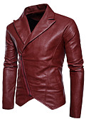 cheap Men's Jackets & Coats-Men's Casual / Daily Punk & Gothic Fall Regular Leather Jacket, Solid Colored V Neck Long Sleeve PU Ruffle White / Black / Red L / XL / XXL