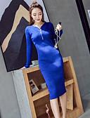 cheap Women's Dresses-Women's Cotton Bodycon Dress - Solid Colored V Neck