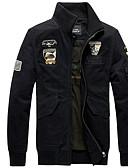 זול גברים-ג'קטים ומעילים-עומד ג'קט - בגדי ריקוד גברים, דפוס / שרוול ארוך