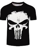 baratos Camisetas & Regatas Masculinas-Homens Tamanhos Grandes Camiseta Estampado, Caveiras Decote Redondo / Manga Curta