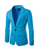 זול חולצות לגברים-אחיד רזה עבודה בלייזר - בגדי ריקוד גברים, בסיסי / שרוול ארוך