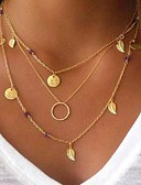 cheap Bras-Women's Layered Pendant Necklace / Layered Necklace - Leaf Multi Layer Gold Necklace N / A For Party, Gift
