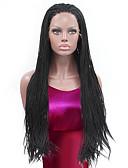 hesapli Korseler-Sentetik Dantel Ön Peruk Düz Sentetik Saç Doğal saç çizgisi / Afrp Amerikan Peruk / Örgülü Peruk Siyah Peruk Kadın's Uzun Ön Dantel / Evet