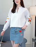 povoljno Bluza-Majica Žene - Ulični šik Izlasci Prugasti uzorak / Color block Lantern rukav V izrez Vezeno / Proljeće