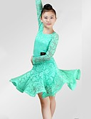 billige Dansetøj til børn-Latin Dans Kjoler Pige Ydeevne Spandex Blondelukning Blonde Ruche Langærmet Kjole