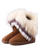 preiswerte Damenhüte-Damen Pelz / Vlies Winter Modische Stiefel Stiefel Flacher Absatz Schwarz / Braun / Grün