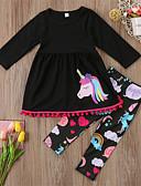 Χαμηλού Κόστους Φορέματα για κορίτσια-Νήπιο Κοριτσίστικα Καθημερινό / Βασικό Αθλητικά / Εξόδου Ζώο Μοτίβο Άνιμαλ / Εκτύπωση Μακρυμάνικο Κανονικό Κανονικό Βαμβάκι Σετ Ρούχων Μαύρο / Χαριτωμένο