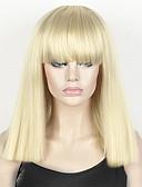 billige Sexy dameklær-Syntetiske parykker Dame Rett / Kinky Glatt Blond Bobfrisyre / Kort bob / Med lugg Syntetisk hår Blond Parykk Medium Lengde Lokkløs Bleik Blond StrongBeauty
