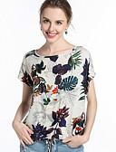 ieftine Tricou-Pentru femei Bluză Șic Stradă - Plante Imprimeu / Vară / Floral
