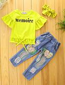 preiswerte Kleidersets für Mädchen-Mädchen Kleidungs Set Solide Baumwolle Polyester Sommer Herbst Kurzarm Blumig Zum Kleid Gelb