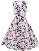 זול מלכת הוינטאג'-צווארון מרובע עד הברך פרחוני - שמלה סווינג כותנה מידות גדולות וינטאג' / בסיסי בגדי ריקוד נשים