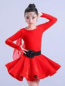 billige Dansetøj til børn-Latin Dans Kjoler Pige Træning Polyester Ruche Langærmet Høj Kjole