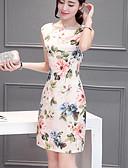 tanie Sukienki-Damskie Wzornictwo chińskie Puszysta Szczupła Spodnie - Kwiaty Beżowy