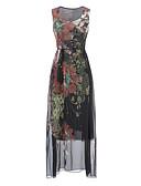 זול שמלות נשים-מקסי דפוס, פרחוני - שמלה נדן בסיסי בגדי ריקוד נשים