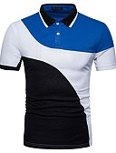 זול חולצות פולו לגברים-קולור בלוק צווארון חולצה בסיסי / סגנון סיני עבודה כותנה, Polo - בגדי ריקוד גברים טלאים / שרוולים קצרים