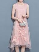זול שמלות נשים-עד הברך רקום, אחיד - שמלה ישרה חמוד בגדי ריקוד נשים
