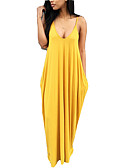 cheap Maxi Dresses-Women's Holiday / Going out Boho Loose T Shirt Dress - Solid Colored Maxi Strap / Sexy
