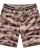 tanie Męskie spodnie i szorty-Męskie Sportowy Rozmiar plus Bawełna Szczupła Typu Chino / Krótkie spodnie Spodnie - Nadruk, Kratka