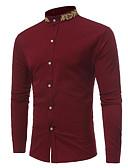 זול חולצות לגברים-פרחוני צווארון עומד(סיני) רזה סגנון רחוב חולצה - בגדי ריקוד גברים בסיסי / שרוול ארוך